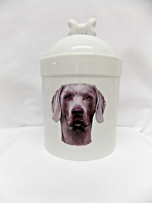 Weimaraner Dog Porcelain Treat Jar Fired Full Body Decal on Front 8 In Tall