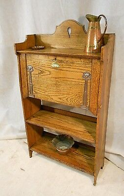 ARTS & CRAFTS OAK HARRIS LEBUS of LONDON BUREAU HEART MOTIF VICTORIAN BUREAU