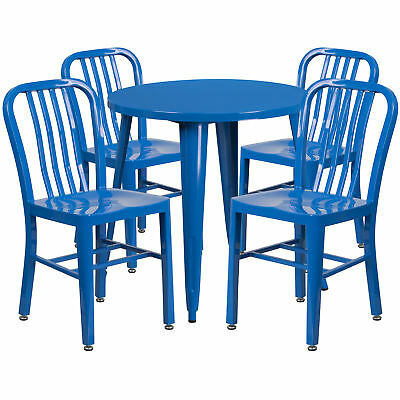 Flash Furniture 30'' Round Blue Metal Table Set With 4 Vertical Chairs