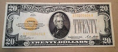 1928 $20 U.S. Small Size Gold Certificate Currency Note!