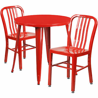 Flash Furniture 30'' Round Red Metal Table Set With 2 Vertical Chairs