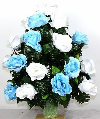 XL Beautiful Baby Roses Cemetery Flower Arrangement for a 3 Inch Vase