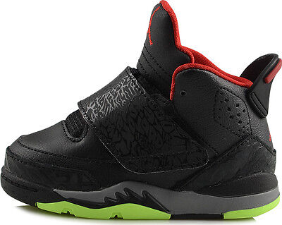 reputable site b8bf3 c3aa1 Toddler Nike Air Jordan Son of Mars Sneakers New, Black   Lime Red 512244-