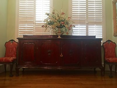 Antique French Mahogany Buffet, Sideboard, Urn Carving, Heavily Carved And Mould