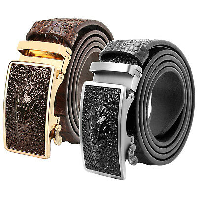 Falari Men Alligator Dress Belt Embossed Genuine Leather Automatic Buckle 7021