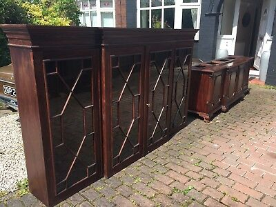 Antique Reproduction Mahogany Glazed Bookcase Dresser Chippendale Cupboard