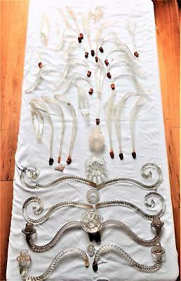 Antique Venetian Murano Glass Chandelier Parts Leaf Candelabra Ball Droppers 19c