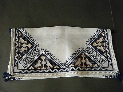 Antique Victorian ASSISI blue HAND Embroidery LINGERIE envelope Holder, Italy