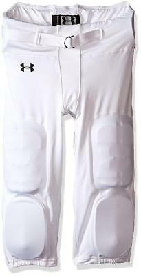 Under Armour Boys' Youth Integrated Football Pants, White/Black