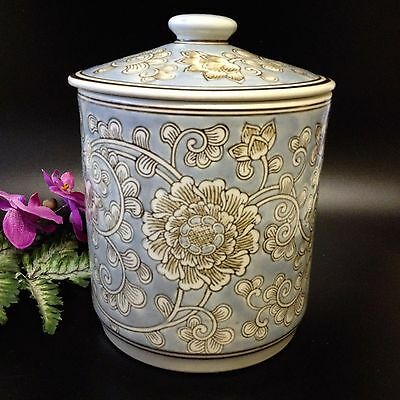 Large 23cm Porcelain Lidded Decorator Jar Pot Canister - Lotus & Chrysanthemum