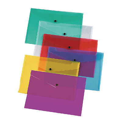 New A4 Plastic Press Stud Wallets Popper Button Wallets, Assorted Colours Cheap