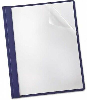 Oxford® Linen Finish Clear Front Report Cover, 3 Fasteners, Letter, Navy,