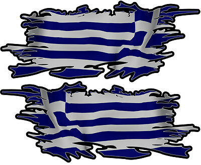 Greek Ripped Flag Left & Right 100Mm By 40Mm Gloss Laminated