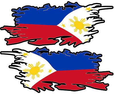 Philippines Ripped Flag Left & Right 100Mm By 40Mm Gloss Laminated