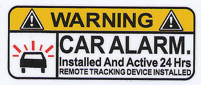 CAR ALARM Decal size apr.22mmh.by68mmw. gloss laminated SET OF 4