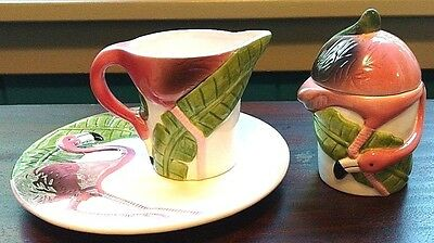 Pink Flamingo Sugar, Creamer and Matching Saucer by Five and Dime 1997