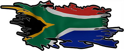 SOUTH AFRICA RIPPED FLAG Size apr. 165mm by 70mm GLOSS LAMINATED DOES NOT FADE