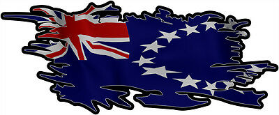 COOK ISLANDS RIPPED FLAG Size apr. 300mm by 122mm GLOSS LAMINATED DOES NOT FADE