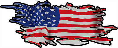 USA RIPPED FLAG Size apr. 300mm by 122mm GLOSS LAMINATED DOES NOT FADE