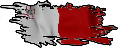 MALTA MALTESE RIPPED FLAG Size apr. 300mm by 122mm GLOSS LAMINATED DOES NOT FADE
