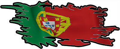 PORTUGAL RIPPED FLAG Size apr. 300mm by 122mm GLOSS LAMINATED DOES NOT FADE