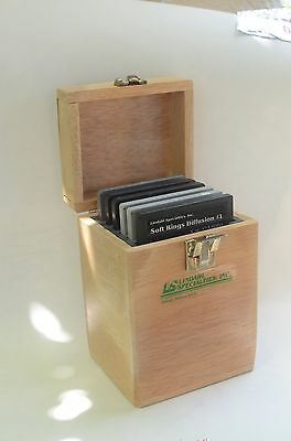 """Set of 6 Lindahl Specialities 3""""x3"""" filters in wooden box"""