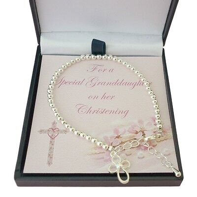 Girls Christening Bracelet with Cross. christening Gift for Daughter, Niece etc