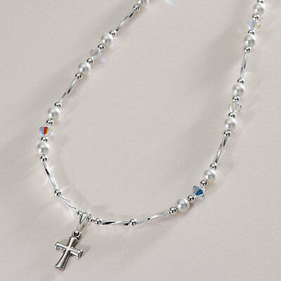 Sterling Silver Necklace with Cross. First Holy Communion Day Gift for Girl