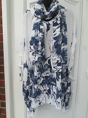 New Lagenlook white /blue long tunic top kaftan  with scarf uk 16 18 20 22 24