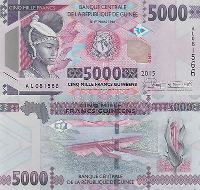 Guinea 5000 Francs (2015) - Tribal Woman/Hydro Damp/p48 UNC