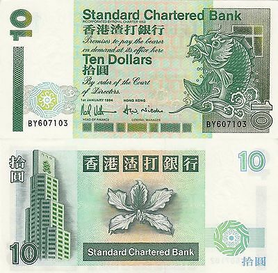 Hong Kong (SCB) 10 Dollars (1.1.1994) - Mythical Fish/Orchid/p284b UNC