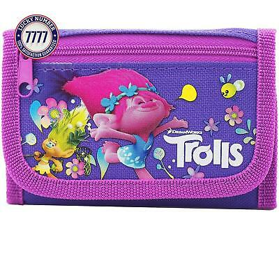 Trolls Dreamworks Character Authentic Licensed Children Trifold Wallet (Purple)