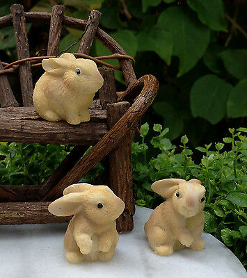 Miniature Dollhouse FAIRY GARDEN Accessories ~ Set of 3 Mini Resin Rabbits NEW