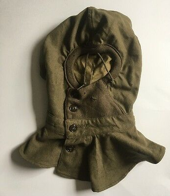 Vintage 1945 US Military WWII Button WOOL Army Green Hood