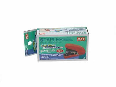 Stapler Max Flat Clinch Ergonomic Mini Style, Palm Size Red