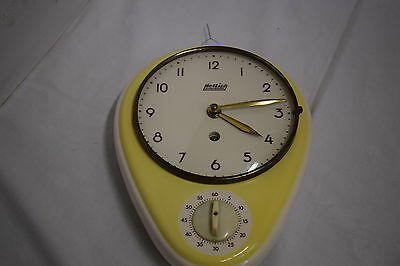 50er 60er Kitchen Clock with Egg Timer Wall nirentischform Ceramics Hettich