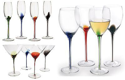 DRH Artland Splash Set of 4 Wine, Martini or Champagne Glasses Flutes Goblets