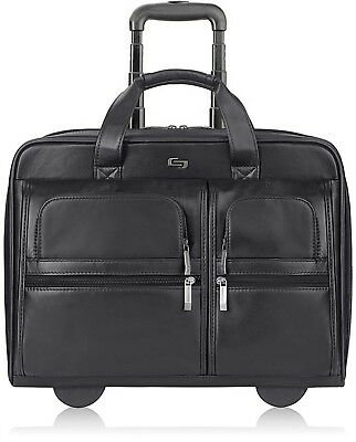 Solo Classic Rolling Case, USLD957-4, 17.5' X 13' X 4.85', Black Leather