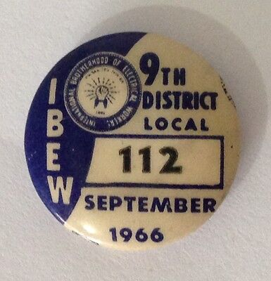 1966 September Rare Brotherhood Of Electrical Workers Union 112 Badge Pin (N10)