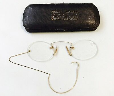 Antique Pince Nez Gold Filled Eyeglasses With Chain And With Hard Case