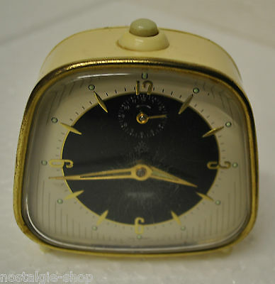 Original 50er 60er Peter Table Clock Alarm Beige METAL MANUAL WINDING 50s 60s