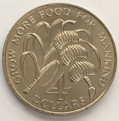 1970 Barbados 4 Dollars Coin FAO Series UNC (L367)