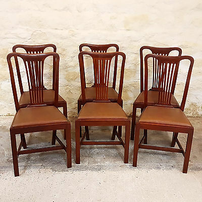 George III Style Set of 6 Mahogany Dining Chairs Early C20th (Antique Georgian)