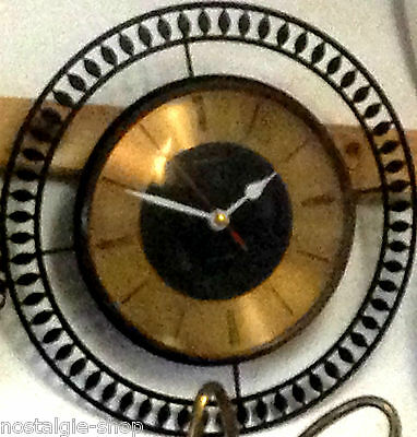 60er/70er elexacta Wall Clock Sun Copper Watch Original 60s 70s Clock Lounge