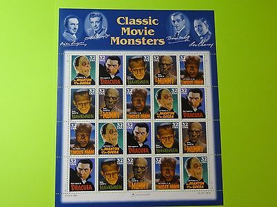 Stamps US * SC 3172a * Classical Movie Monsters * 32c MNH 1997 Sheet of 20