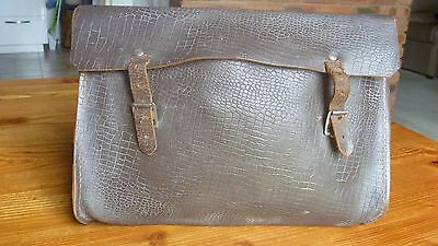 Vintage Old Brown Leather  School Bag