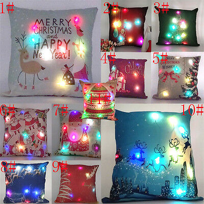 LED Vintage Cotton Linen Pillow Case Sofa Waist Throw Cushion Cover Decor Xmas E