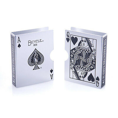 Metal Playing Card Cilp Bicycle Deck Protector Case Magic Predict Trick(Silver)