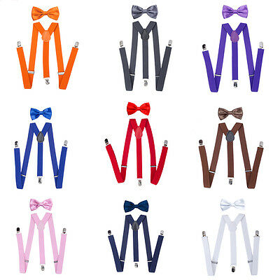 Fashion Suspenders and Bow Tie Set Baby Toddler Kids Boys Girls Children Plain