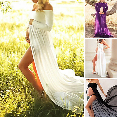 Pregnant Women Long Maxi Gown Photography Chiffon High Slit Maternity Dress Lady